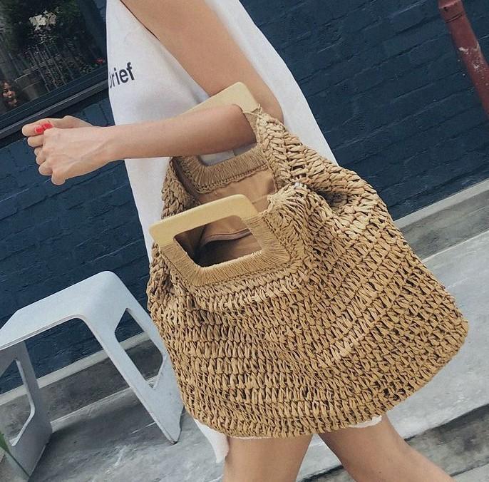 Casual rattan grande capacità totes per le donne intrecciata intrecciata in legno borse in legno estate spiaggia sacchetto di paglia signora grande borse da viaggio sac 2020 c1023