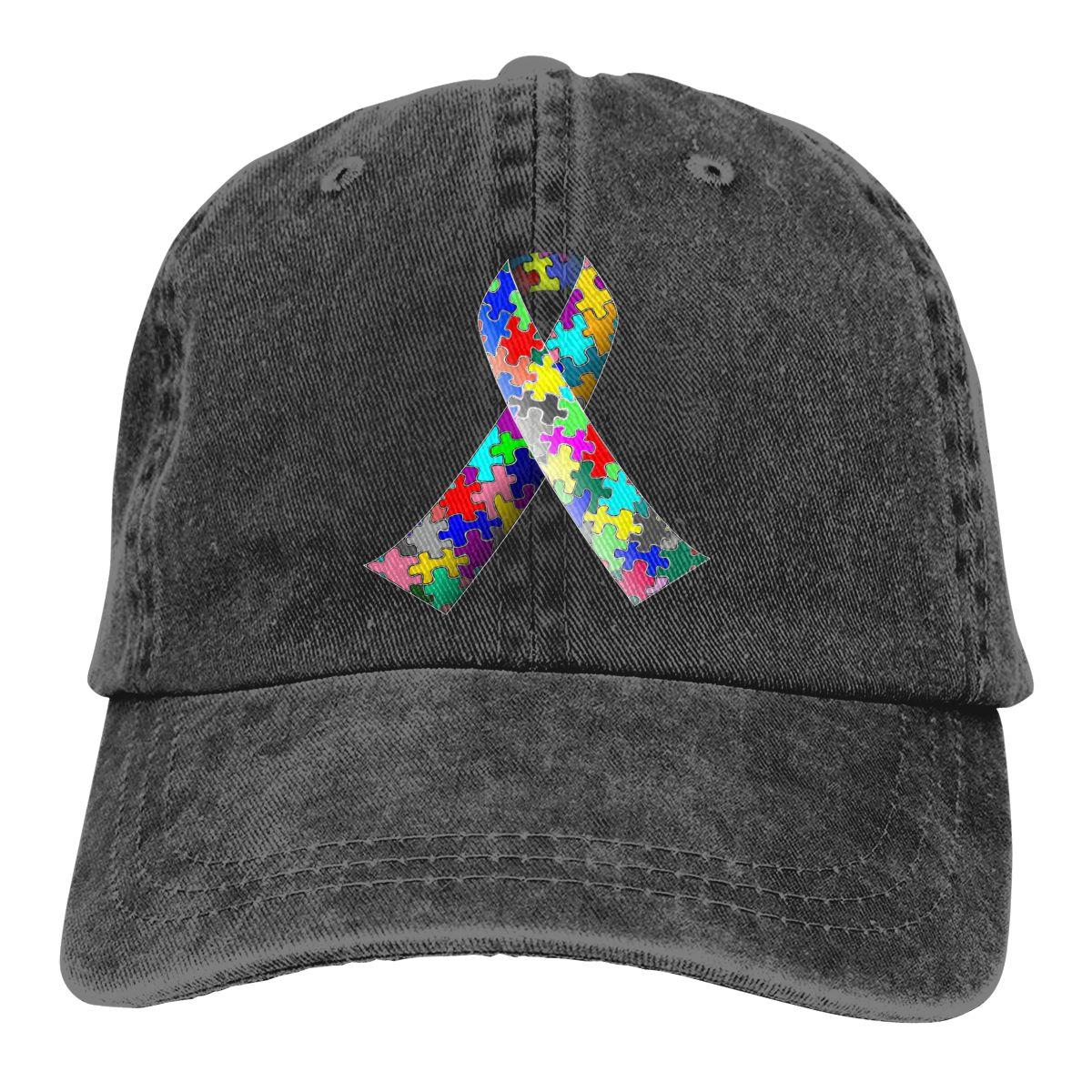 Autism Ribbon Denim Baseball Caps Unisex Outdoor Recreation Autism Ribbon Bill Caps Fashion Active Dome Hats