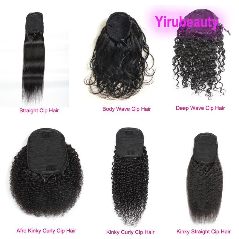 Бразильские 100% человеческие волосы хвостики AFRO kinky Curly 8-20 дюймов прямые кузова девственница волосы морские цветные пони хвосты глубокая волна kinky kinky