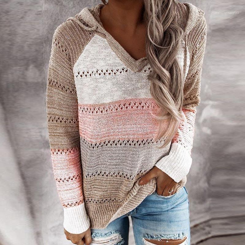 caliente otoño v cuello remiendo suéter con capucha mujeres casual manga larga suéter punto top invierno rayado suelto jersey saltadores1