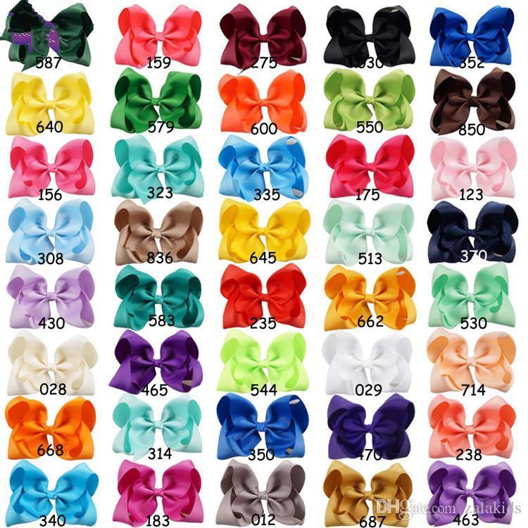 40 Renkler 5 İnç Kızlar Saç Yaylar Çocuk Bow Firkete Klipler Kızlar Büyük ilmek Kurdele Kafa Moda Kız Bebek Saç Aksesuarları Şapkalar