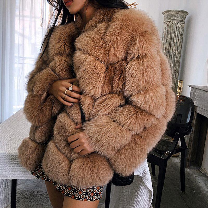 осень зима новый искусственный мех пальто длинный участок шить шубы больших размеров