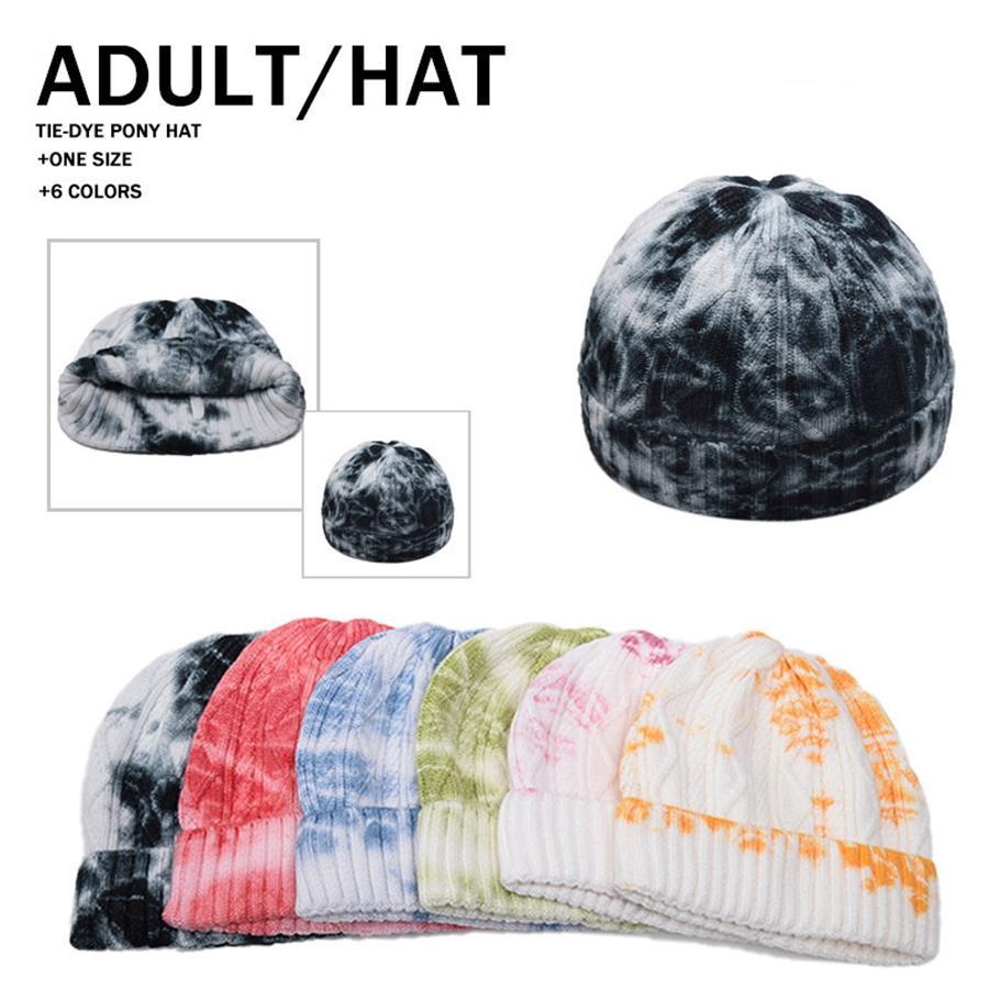 Cap melón corbata nueva teñido invierno sombrero hecho corto colorido cráneo Hip Hop hizo punto unisex Pescador Cap Escutelaria DDA632