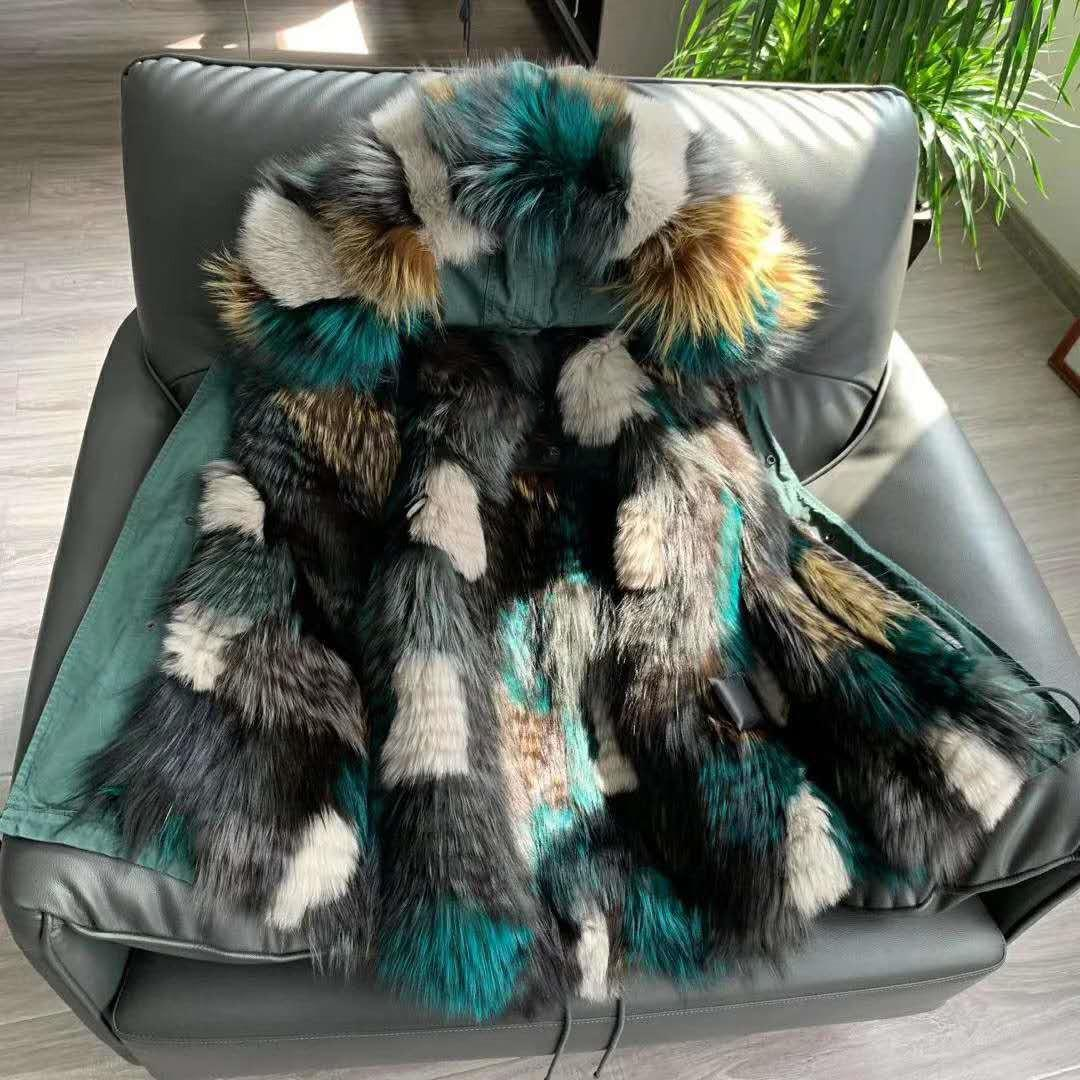 Mulheres casacos quentes Mukla peles marca cinza forro de pele de raposa branca longas jaquetas parka inverno neve verde malaquita verde