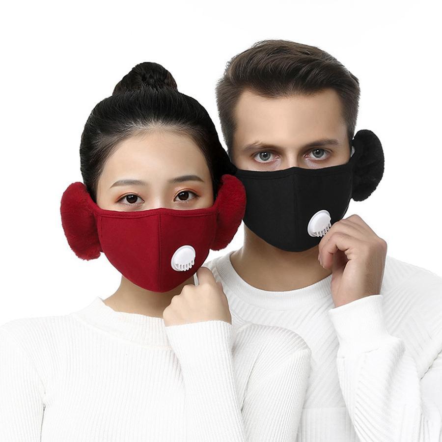 2 sur 1 masque visage de la vanne avec cache-oreilles en peluche hiver masques à la bouche chaud de la bouche-meuble oreillefflap à vélo extérieur masque de visage avec 2pcs filtres RRA3750