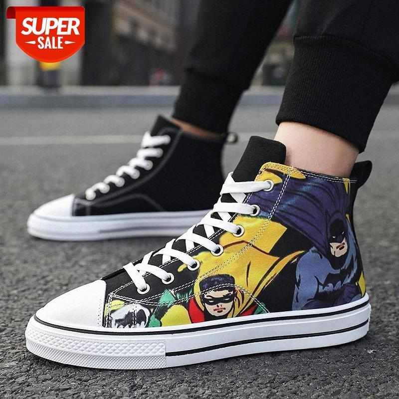 2021 Coolvfatbo Batman Shoes Casual Vulcanize Zapatos para hombres Mujeres Encaje-up Lienzo plano Alto Top Top Spring Autumm Students Sneakers # AQ9P
