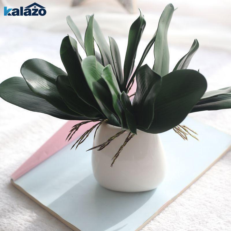 1 шт. Зеленый Phalaenopsis лист искусственного завода DIY венок подарок свадьба дома декоративные поддельные цветочные шелковые орхидеи листья1