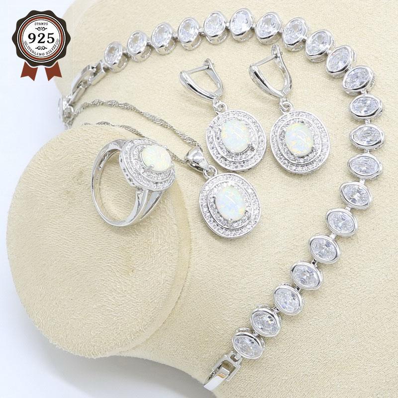 Серьги Ожерелье Овальные Белые Опал Подвеска Серебряный Цвет Украшения Для Женщин Зиркона Браслет Подарочная коробка