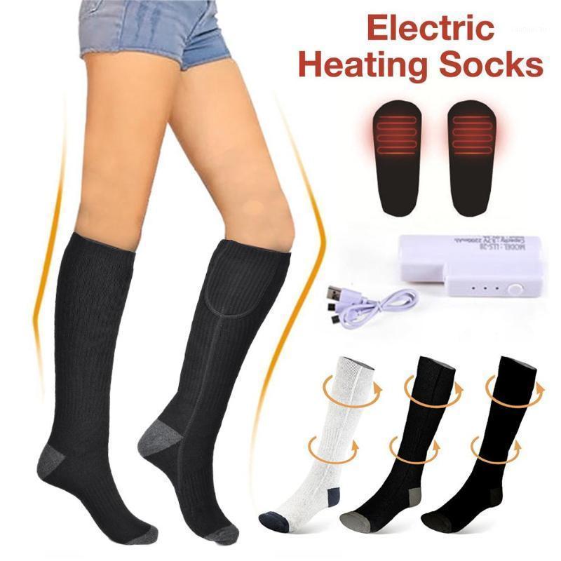 1 Paar elektrische beheizte Socken wiederaufladbare einstellbare Ebene lang gestrickte Socken Fußwärmer Winter Outdoor Sports Skifahren1