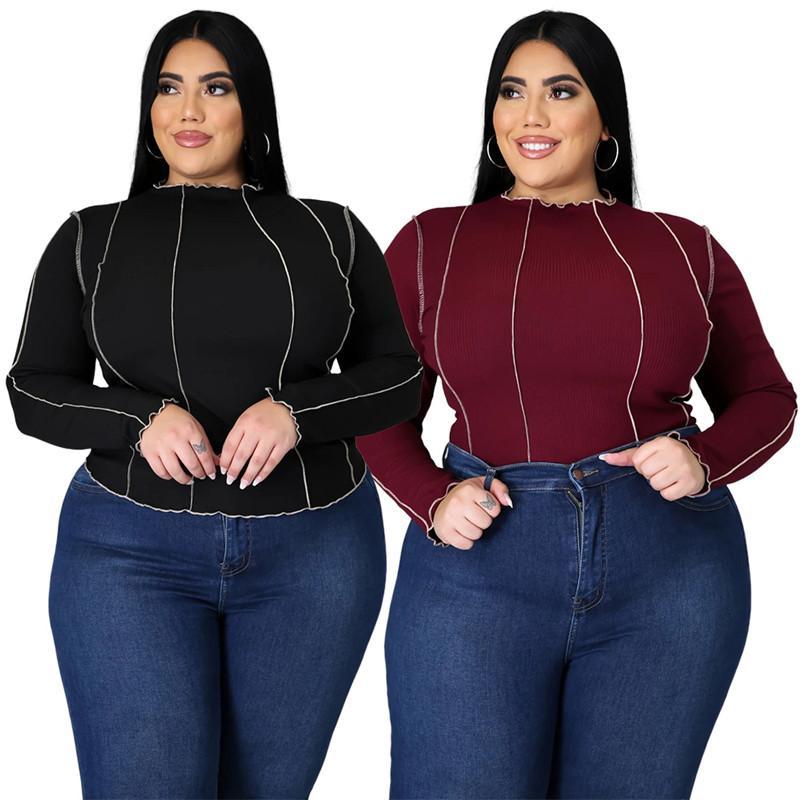 Womens Plus Tamaño Tshirts Línea de moda de manga larga con paneles para mujer más Szie Tees Casual 5XL Hembras Ropa