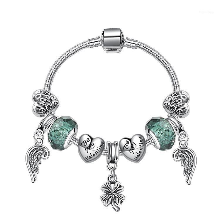 Pulseras de encanto Plateado Plateado Pulsera Bangle Clover Heart Glass Charms Charms Beads Fit Original Basic Snake Chain DIY Jewelry Gift1