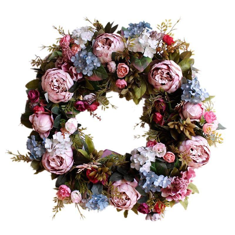 53см Дверь Венок Большой Garland Искусственный цветок Венок Гобелен двери Украшение Домашнее украшение Декор Агротуризм
