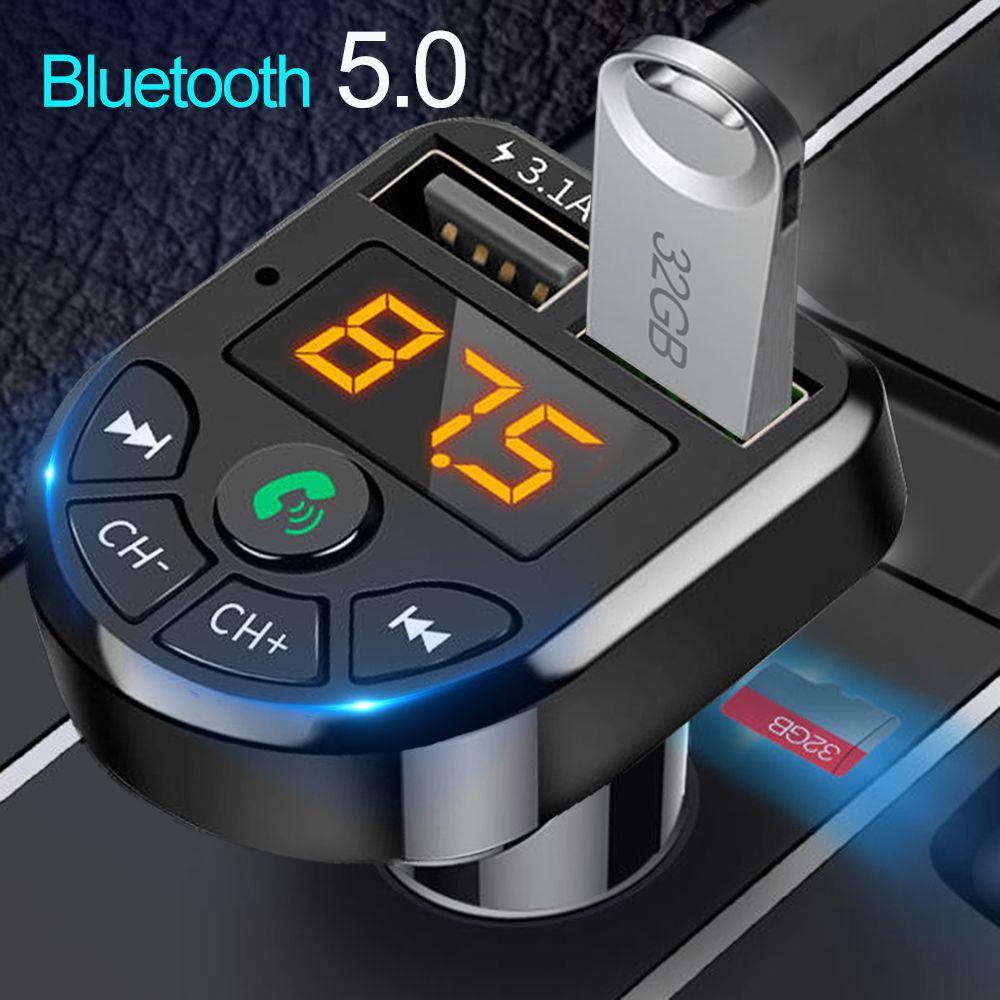 Bluetooth 5.0 FM Sender Car Kit MP3 Modulator Player Wireless Freisprecheinrichtung Audio-Empfänger Dual USB-Schnellladegerät 3.1A