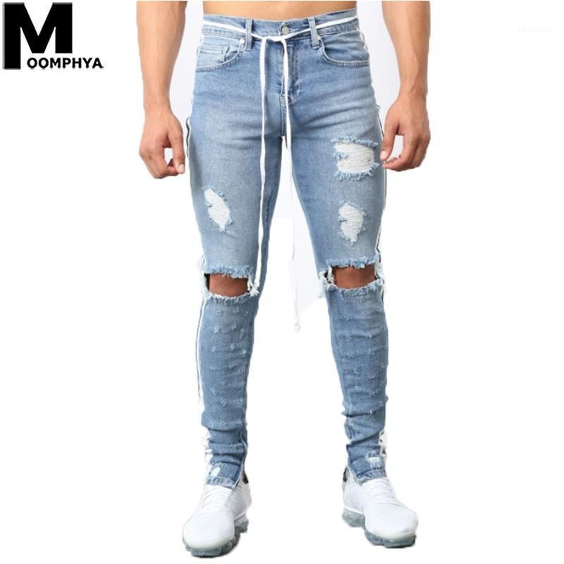 Männer Jeans Moomphya 2021 Beunruhigte Löcher Seitenstreifen Skinny Herren Streetwear Hip Hop Riss für Denim Hosen Blue1