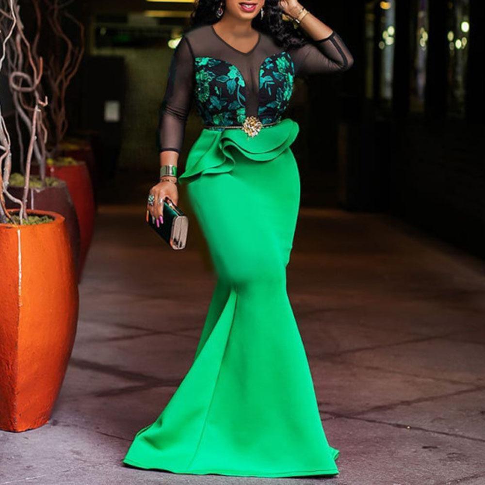 Vintage vert à manches longues paillettes de sirène robe étincelante élégante élégante et taille brillante soirée soirée de soirée africaine robes pour femmes J1215