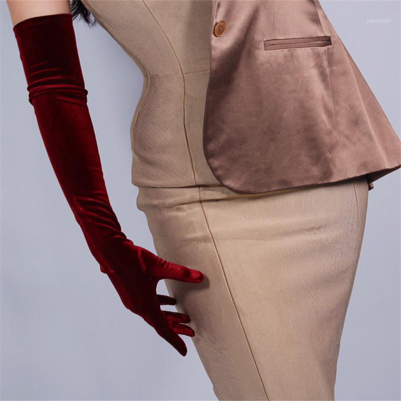 60 cm Velor Eldiven Ekstra Uzun Bölüm Şarap Kırmızı Üzerinde Dirsek Kadın Yüksek Elastik Kadife Altın Kadife Dokunmatik Kadın WSR031