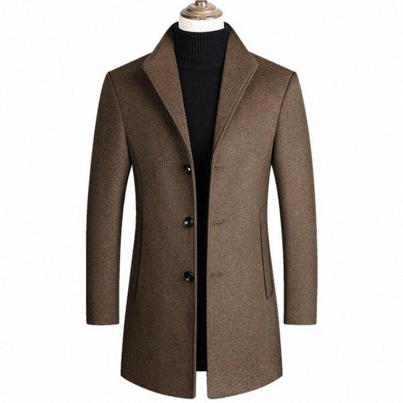 Yün Karışımları Coats Erkekler Yüksek Kalite Yeni Sonbahar Kış Kalınlaşmak Yün ceketler Mens Casual lüks Uzun Trençkot Marka Giyim HqrS #