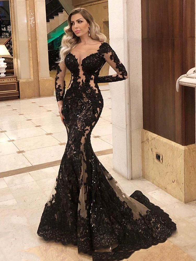 Sexy Negro vestidos de noche de la sirena del desfile de 2021 de las lentejuelas apliques de manga larga escarpada del cordón de la ilusión ocasión espina de pescado del desgaste de baile vestido