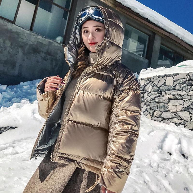 New 2020 Porter sur les deux côtés Glossy Down Jacket femmes hiver chaud manteau Parka Femme en vrac imperméable Outwear neige