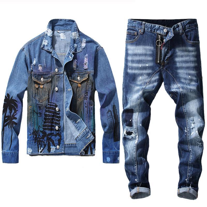 Chándal de los hombres Vintage Blue Jeans se adapta a cuatro temporadas chaqueta de mezclilla delgada y costura Jean 2pcs Conjuntos de letras para hombre Abrigo de impresión + Pantalones de agujero