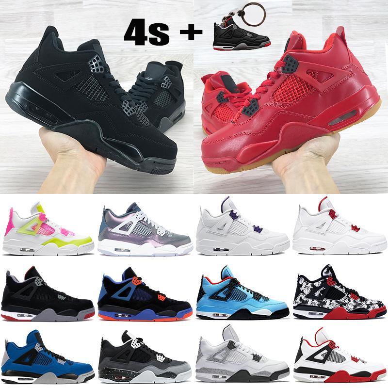 Nouvelle arrivée 4 4s chaussures de basket-ball hommes de Jumpman métallique chat noir violet blanc citron rose Monsoon bleu ce que les hommes élevés formateurs chaussures de sport