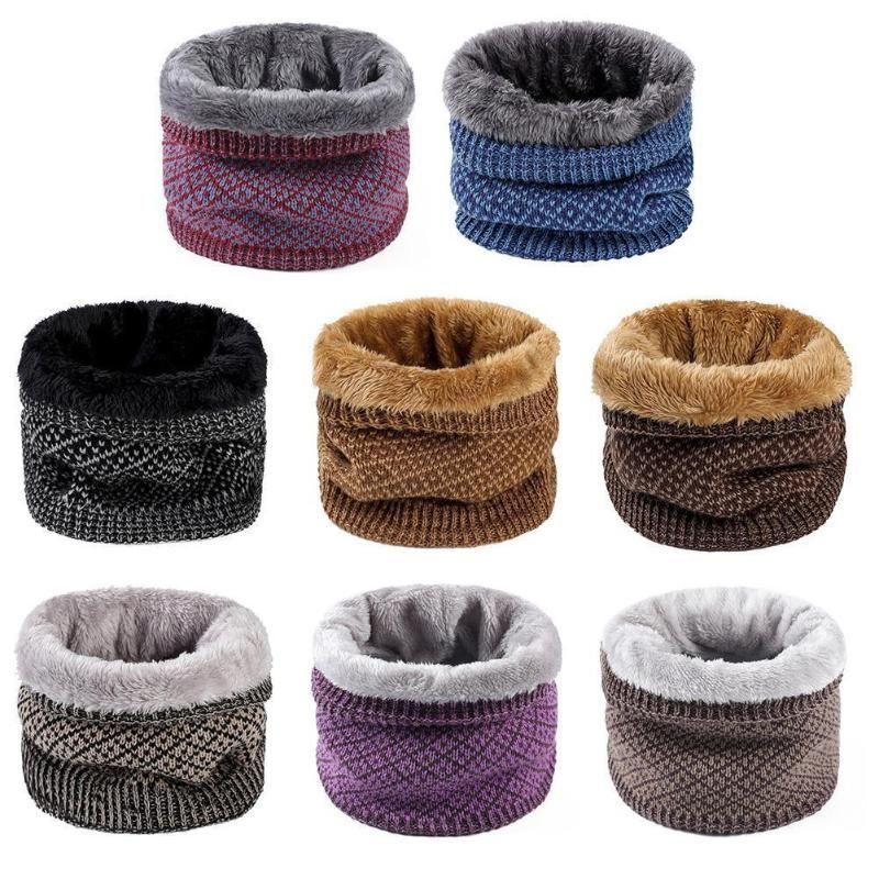 Scarves Fashion Winter Scarf Snood Warp Collar Warm Male Soft For Men Women Knitted Ring Fleece Neck V5J4