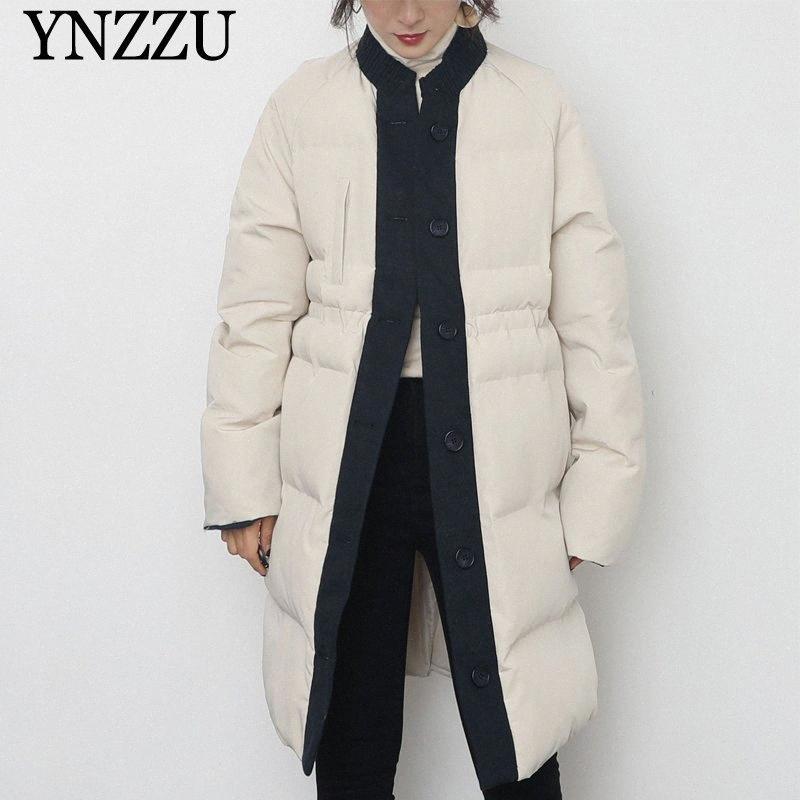 Moda feminina inverno longo parkas Grosso quentes Patchwork solto Feminino Casacos Botões elegante longo casaco Casual 2020 New YNZZU 9O148 1tGI #