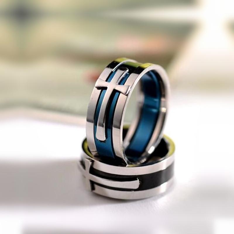 8 mm Titane Prière acier Christian Croix Bague Deux couleurs Bagues de fiançailles de mariage pour les hommes femmes Bague de doigt