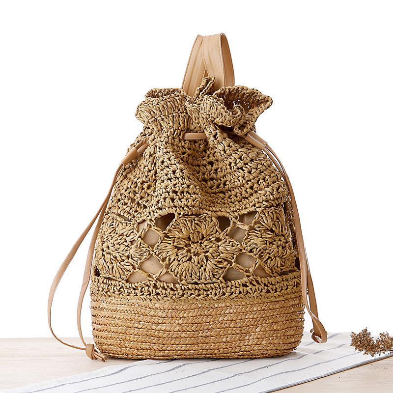 вскользь ротанг женщины рюкзаки богемного выдалбливают соломы мешок большая емкость рюкзак для леди летних пляжных кошельков 2020 путешествия мешка C1017