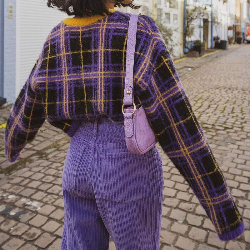 Purple Yellow Plaid Chic V-neck Cropped Woman Sweaters Long Sleeve Winter Tops New Preppy Style Girls Streetwear Casual Brand
