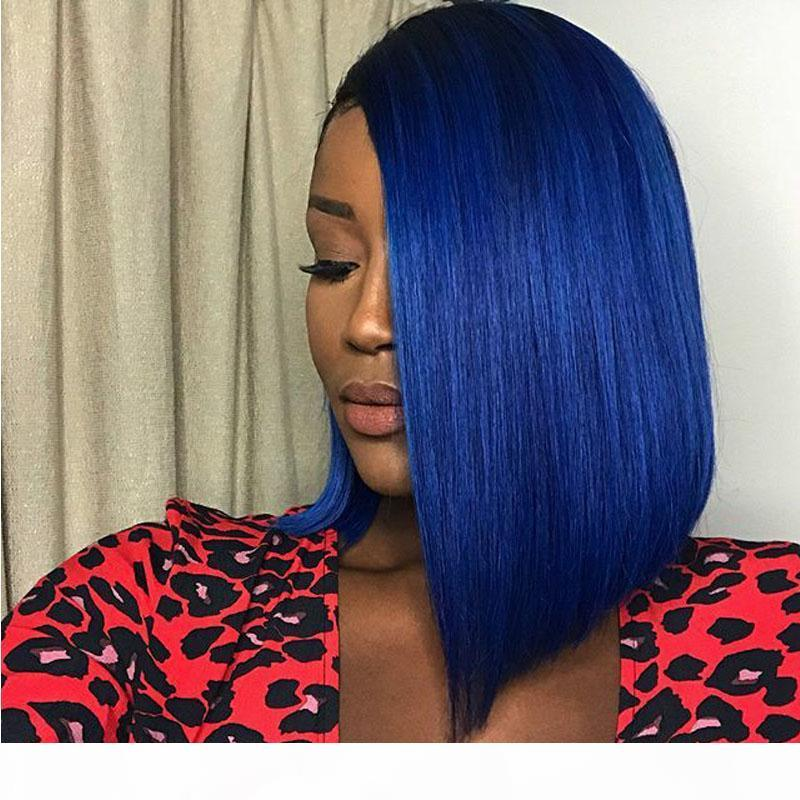 Siyah Mavi Dantel Açık Peruk İçin Siyah Kadın Kısa Bob Perulu Bakire Saç Tutkalsız Rengi Mavi Tam Dantel İnsan Saç Peruk Bebek Saç