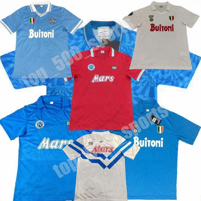 1986 1987 1987 1988 1988 1999 Napoli Retro Soccer Jerseys 87 88 89 91 93 Coppa Italia Napoli Maradona خمر Calcio الكلاسيكية خمر لكرة القدم قمصان