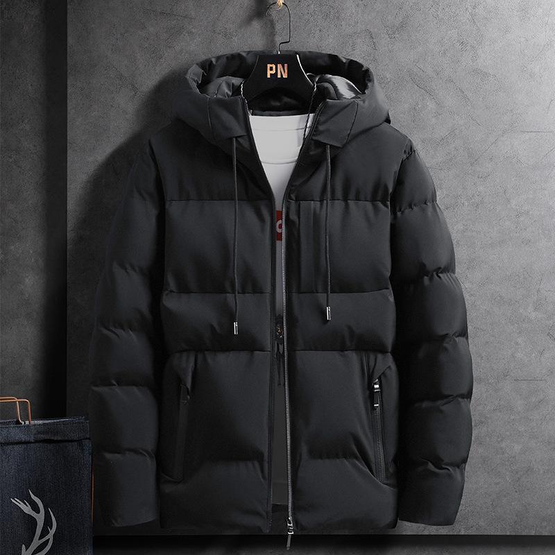 2021 El nuevo modo de color sólido tamaño grande 4xl Hombre de algodón de invierno Nuevo Cálido espesado con capucha DSDH