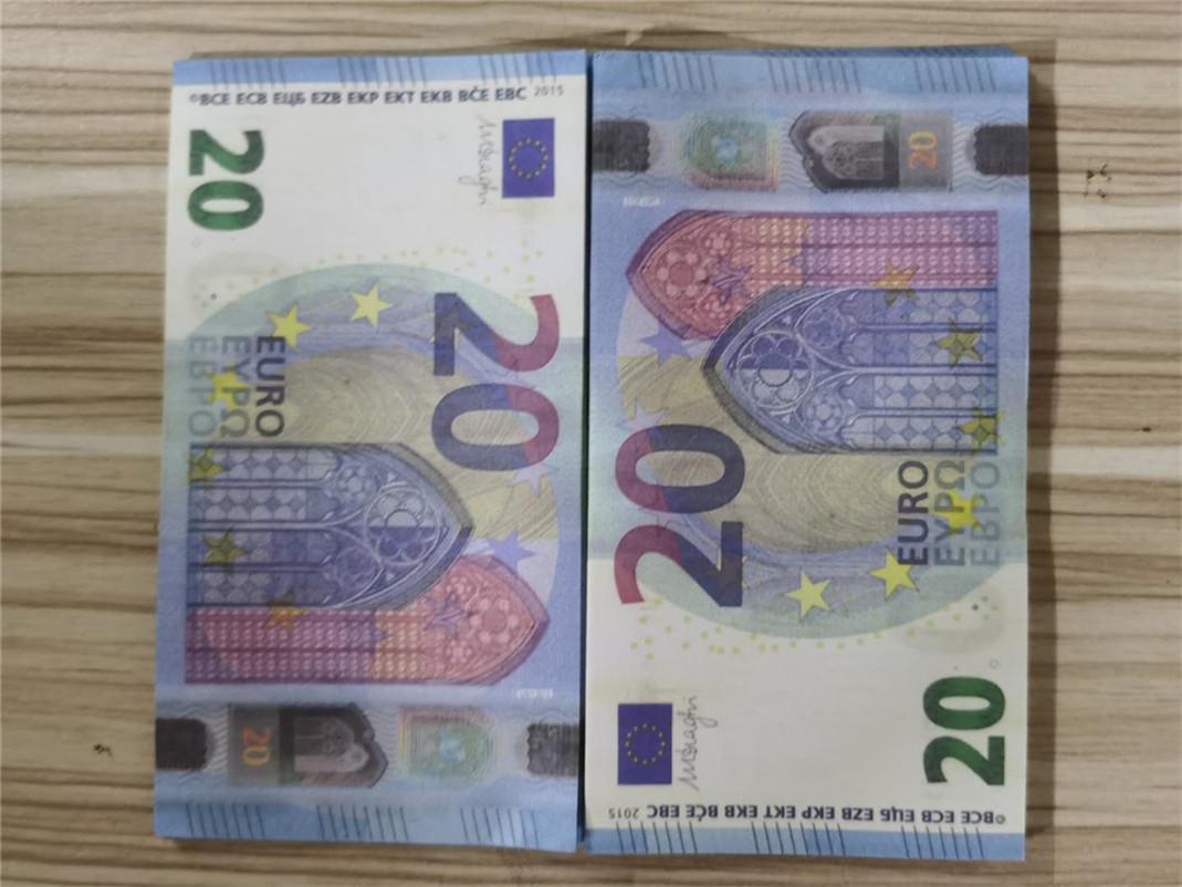 Simulação de falsas notas de 20 euros, brinquedos, adereços de filmes e tiro televisão, notas prática, 100 jogo tokens23