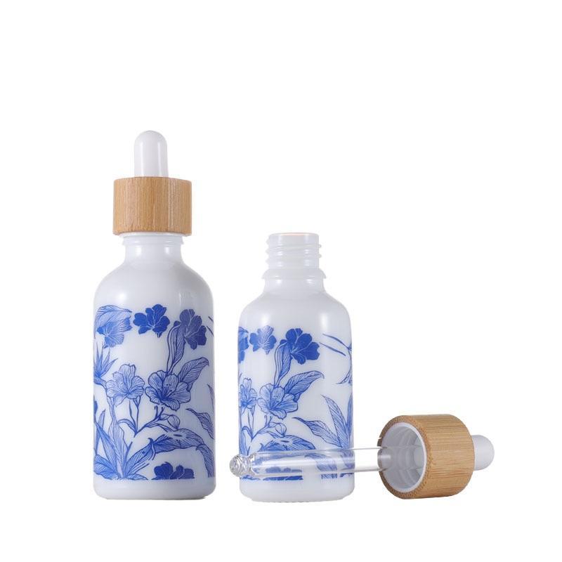 파란색과 흰색 도자기 에센셜 오일 향 향수 병 대나무 모자 액체 시약 피펫 아로마 테라피 droppers 병 10ml-100M CCA3091