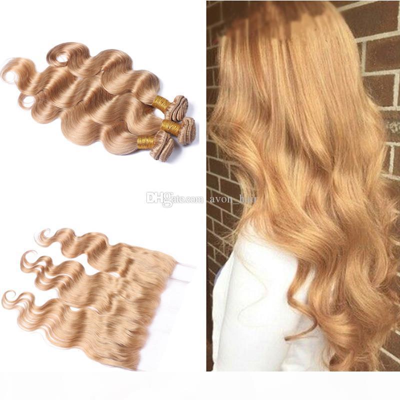 Bonds blonds blonde onduleur ondulés de cheveux avec dentelle frontale 13x4 couleur pure 27 oreille à l'oreille frontale avec extension de cheveux d'onde de corps