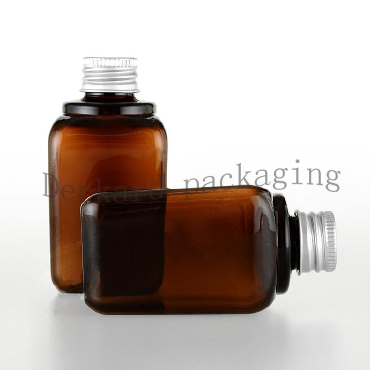50PCS/LOT 80ML Bottles Empty with Aluminum Metal Screw Cap Hydrating Bottle Brown empty plastic