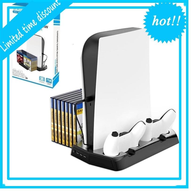 PS5 Stand de charge multifonctionnel Hôte Rack de refroidissement d'hôte Chargeur de contrôleur de jeu pour la station de lecture 5 Accessoires Console Joypad