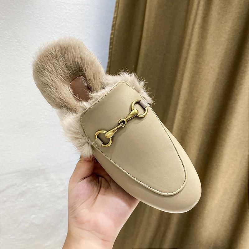 2020 пушистые женские осенью новая мода наружная одежда Baotou Muller кролик мех половины тапочки повседневная обувь