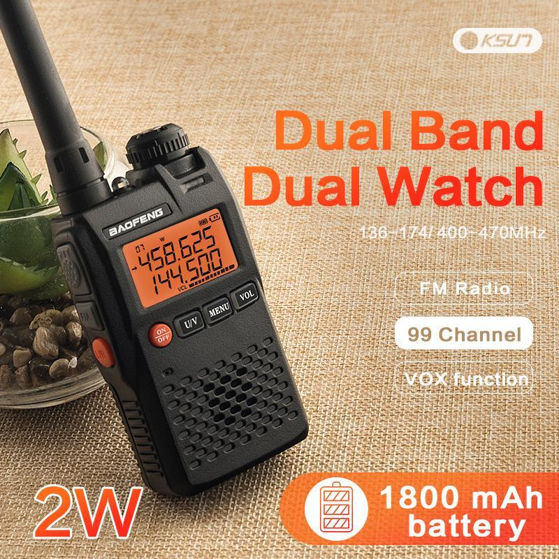 BAOFENG UV-3R Walkie Talkie Mark 136-174 / 400-470 MHz Dual Band Due Way Radio Doppia Frequenzy Display Due Vie Radio CB Prosciutto
