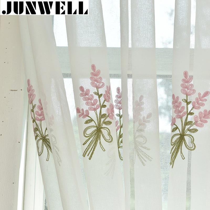 جونويل القطن الكتان النسيج لوحة الستائر لغرفة المعيشة ستارة التطريز الأزهار لغرفة النوم ستائر اللكم