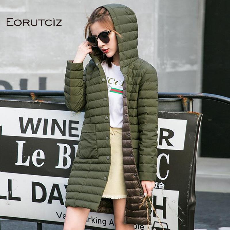 Eorutciz Winter Plus Size 3XL lungo cappotto lungo cappotto donna ultra leggera giacca con cappuccio molla sottile vintage cappotto casual LM403 201103