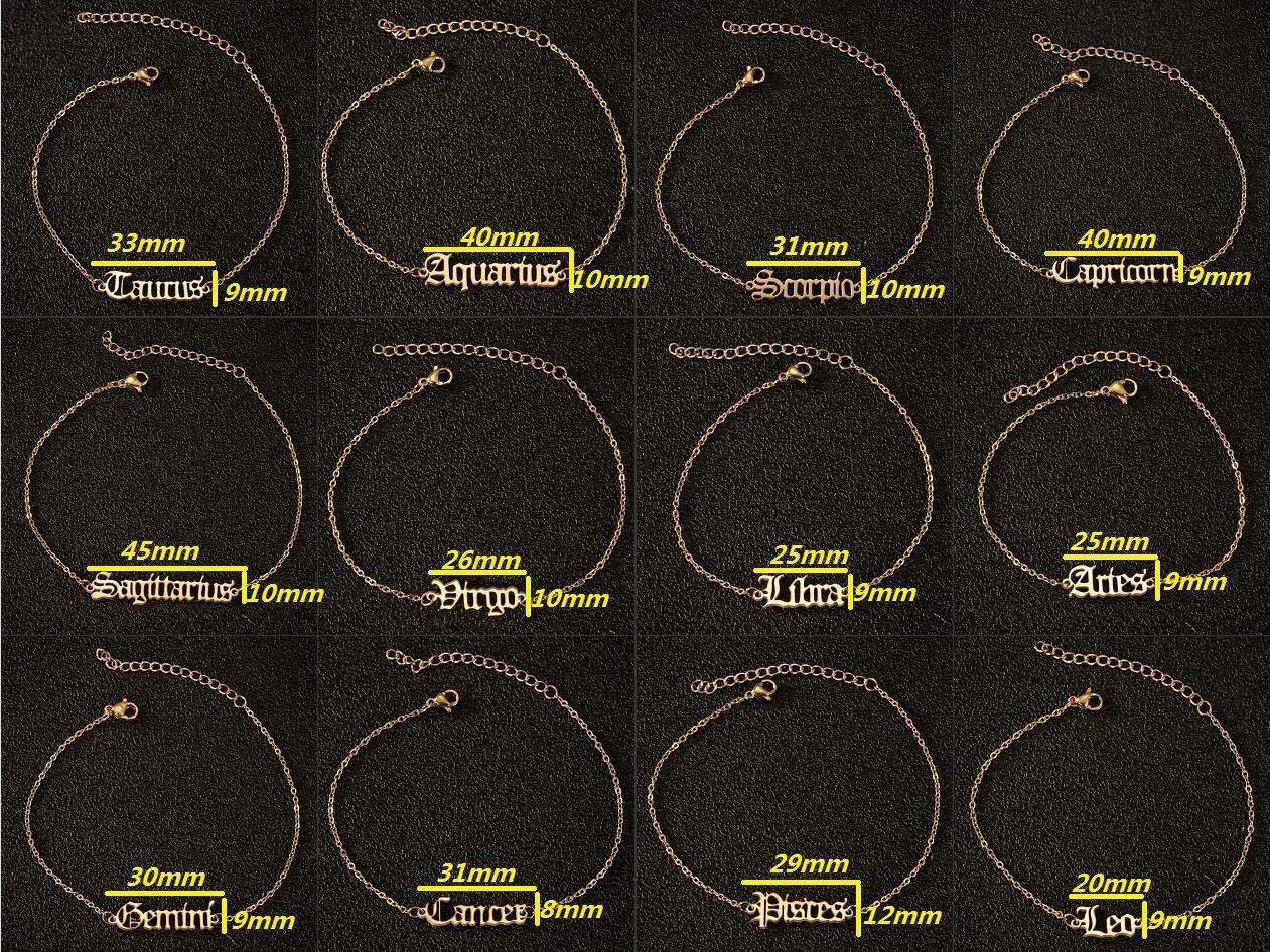 Nueva acero inoxidable elegante Mi signo del zodiaco 12 Constelaciones pulsera Antiguo Inglés Carta colgantes de cadena de la pulsera de la joyería del regalo de cumpleaños