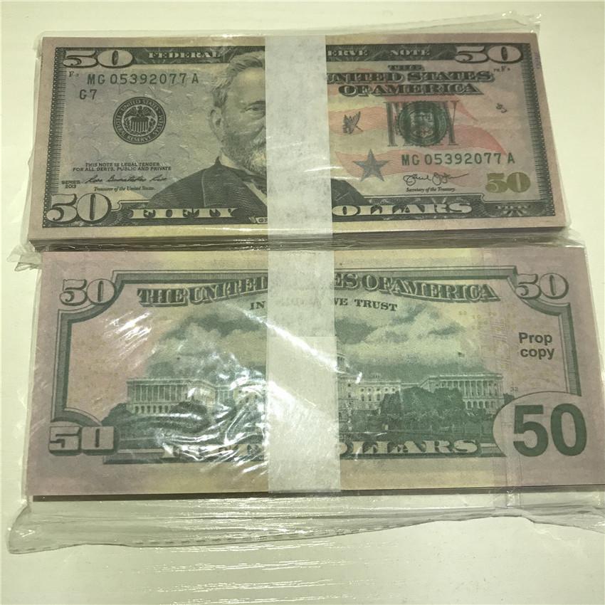 Props American Shipping Pieces / Calidad del paquete 100 accesorios altos Atmosphere Fast Moneda Bar Party Papel al por mayor Dólar 50-3 FWRPN IMUQX
