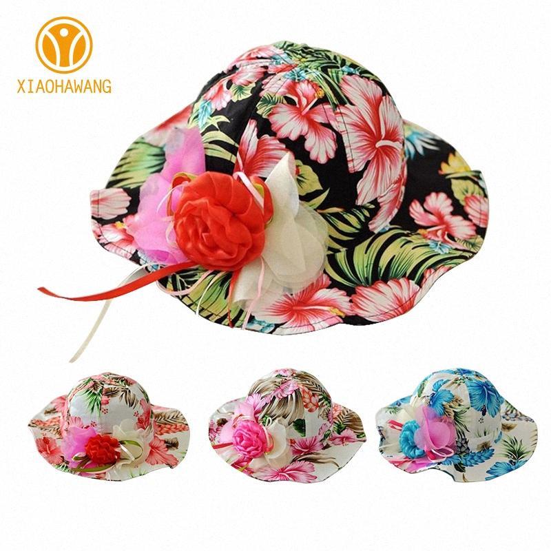 Niños de flor Cap Panamá algodón de los bebés sombrero floral de verano colorido de la flor de la impresión de los niños Caps salvaje ala bebés Ropa Lt8K #