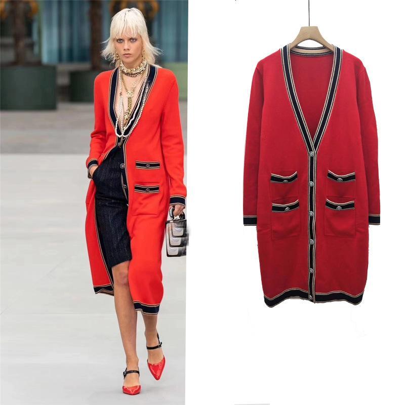 Bayan Triko Coat 2020 Sonbahar Yeni Moda Trend dört cebi Uzun Hırka Bayan Kat Kırmızı Uzun Triko SIZE S-L Kazak mont