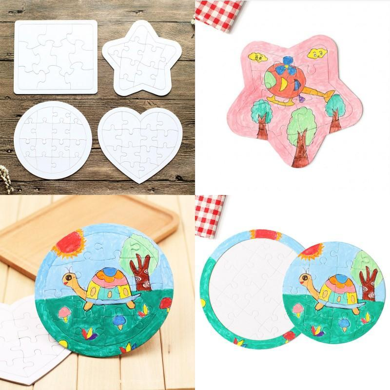 Sublimation Blank Picture Puzzle DIY Colouring Jigsaws Child Square Five Pointed Star Painting Toys White Gift Paper HHD4691