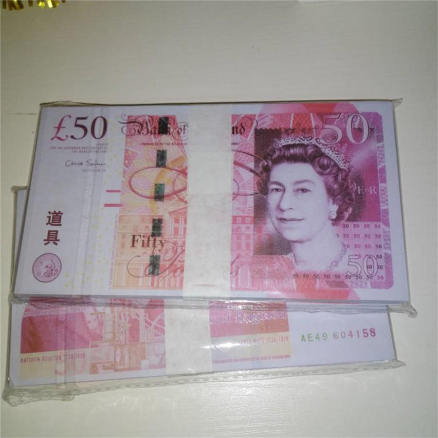 Beste Qualität Requisiten Britische Pfund Rechnungen 50 Spiel Geld Auto Spielzeug Bar Requisiten Münzen Kinderspielzeug Banknoten P33