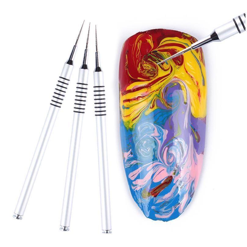 1 stück Acrylfarbstoff Malerei Stift Silber Zeichnung Blumenbürste Nail art Tool 1Pc SQCKMU