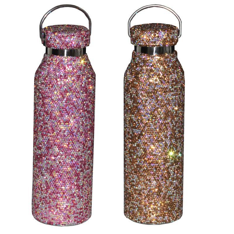 THERMOS TERMOS TERMOS TOTALMENTE THETHING Diamond Brillo Hervullado 304 Taza de agua de acero inoxidable con 3 colores rosa de oro blanco